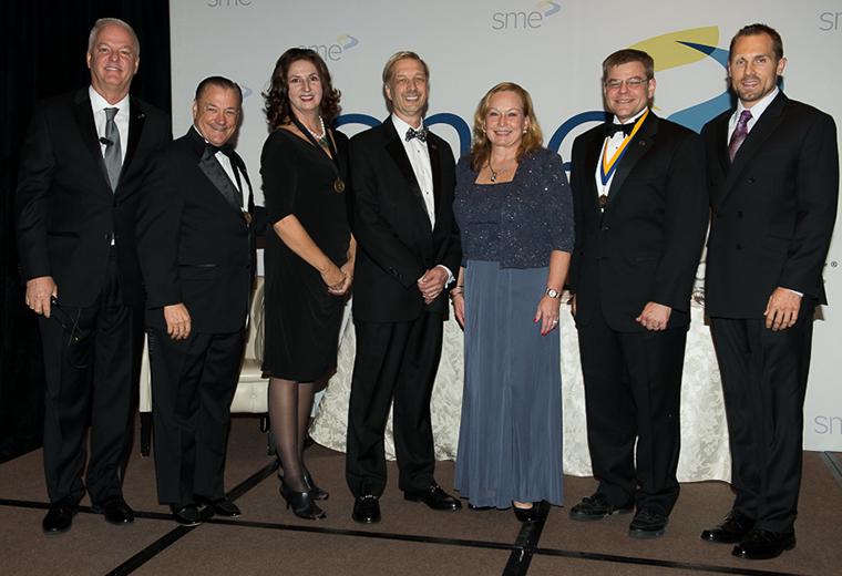 (Left to right): Jeffrey Krause, SME executive director and CEO; Michael Packer, FSME, 2017 SME secretary; Susan Smyth, PhD, FSME, 2017 SME treasurer; Mark Michalski, 2017 SME vice president; Sandra Bouckley, FSME, 2017 SME president; Thomas Kurfess, PhD, FSME, 2017 SME president-elect; and Matthew Hilgendorf, 2017-18 SME international director.