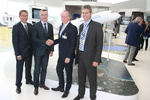 From left to right: Amos Liebermann, Director of Aerospace Strategic Accounts, EMEA, Stratasys; Olivier Cauquil, Head of Material & Parts Procurement, Airbus and Chairman of the Airbus Group Material Board; Andy Middleton, President, Stratasys EMEA; Mark Walker, VP Procurement Strategy and Governance, Airbus (Photo: Business Wire)