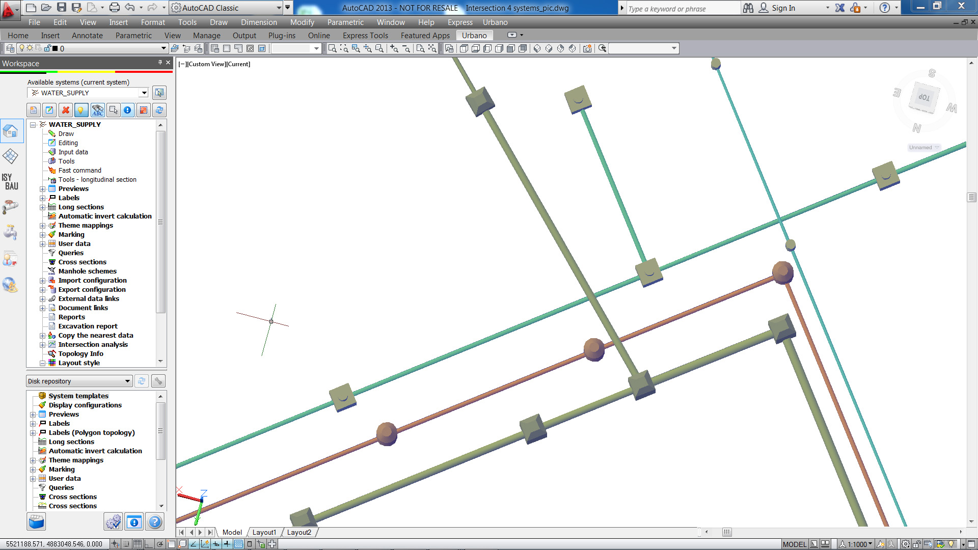 3D view of several intersecting pipelines