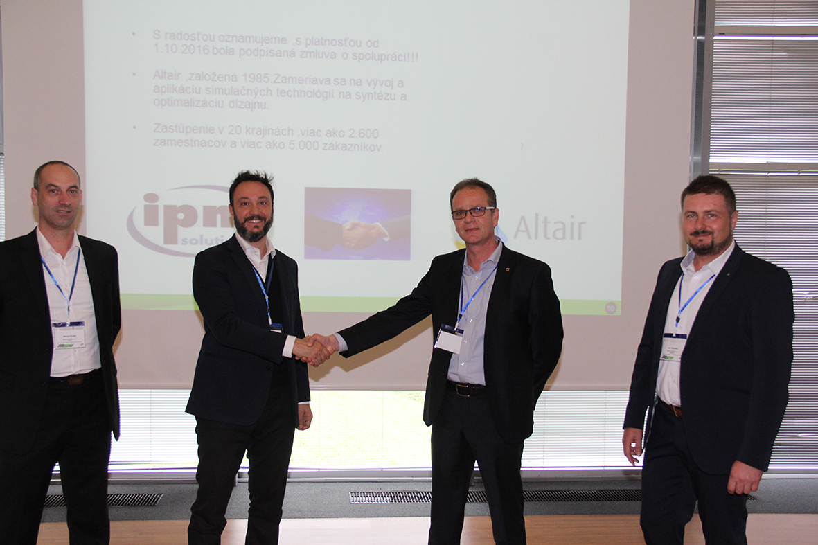 From left to right: Martin Pollak (IPM Solutions), Dr. Pietro Cervellera (Altair), Peter Soltes, Ivan Sihelsky (both IPM Solutions)