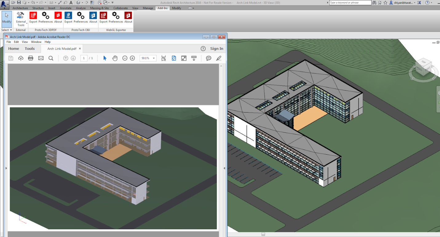 (Left is exported 3D PDF from ProtoTech's 3D PDF Exporter plugin and right one is  image of model in  Revit)