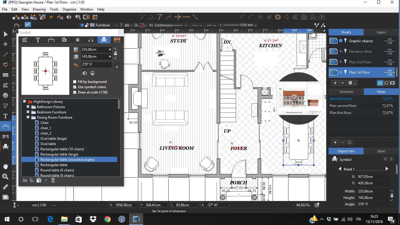 HighDesign 2017 beta on Windows 10, residential architecture
