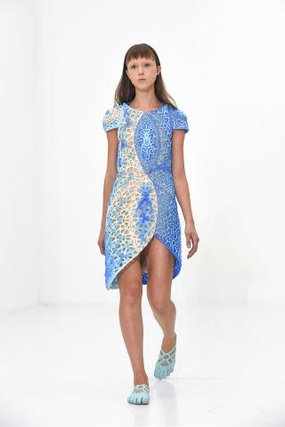 Stratasys 3D printed OSCILLATION dress designed by threeASFOUR in collaboration with Travis Fitch, produced using Stratasys' color, multi-material 3D printing technology. Photo credit: Ben Gabbe